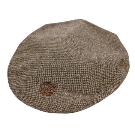 Brown Tweed Flat Cap Celtic Circle Emblem Irish Made