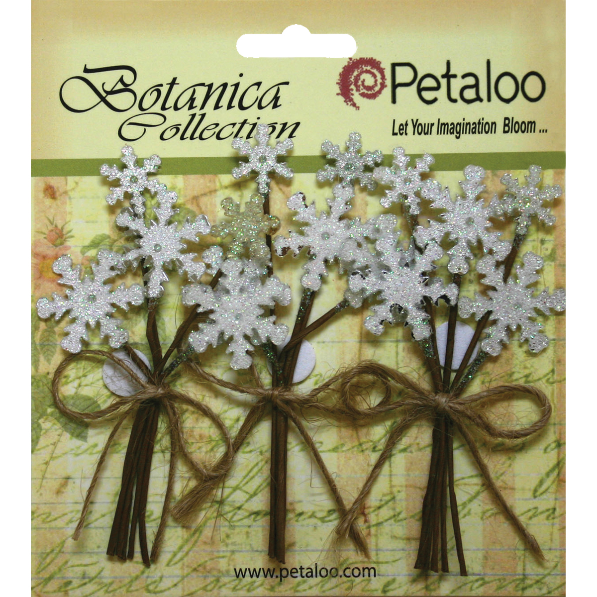 "Botanica Glittered Snowflake Picks .75""X3"" 3/Pkg"