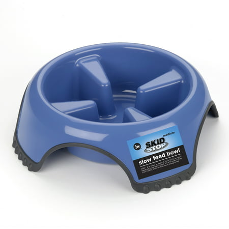 JW Pet Skid Stop Slow Feed Bowl, Medium (Best Things To Feed A Dog)