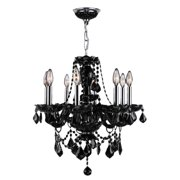 "Provence Collection 8 Light Chrome Finish and Black Crystal Chandelier 20"" D x 20"" H Medium"