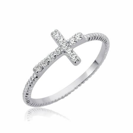 - Men Women Sterling Silver 7mm Sideway Cross CZ Religious Ring Engagement Ring
