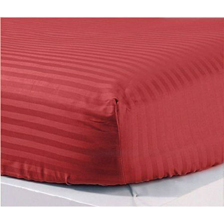 The Great American Store- 600 Thread Count 100% Egyptian Cotton 1 PC Fitted Sheet / Bottom Sheet 24 Inch Deep Pocket (Stripe Burgundy, Olympic Queen) - ALL ROUND ELASTIC FOR
