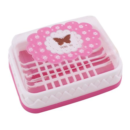 Plastic Butterfly Pattern Rectangular Design Soap Case Box Holder Container Pink Box Plastic Canvas Pattern