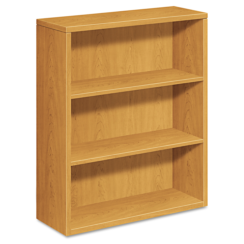 HON 10500 Series Laminate Bookcase, Three-Shelf, 36w x 13-1/8d x 43-3/8h, Harvest