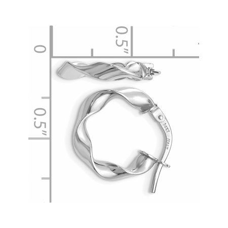 Leslie's 14k White Gold Polished Twisted Hoop Earrings - image 1 of 2
