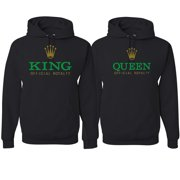 King Queen Funny Watch Logo Parody Gift His and Hers Matching Couples Hoodie Sweatshirts Set , Black, Mens S-Womens S