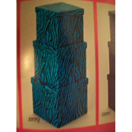 Nestled Gift Boxes Zebra Print Turquoise 3 Pieces Nestled Decorative Gift Box Zebra Print By Mjs Crafts More