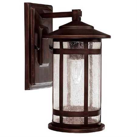 Mission Hills One Light Outdoor Wall Lantern in Burnished Bronze - Bulb Type: Incandescent