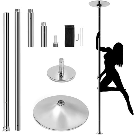 Yaheetech 45mm Stripper Dance Pole Spinning Static Dancing Pole for Home Portable Removable Home Dancing Pole, Height Adjustable 44.5-108.3'' Silver