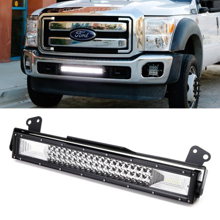 """iJDMTOY 21"""" Flood/Spot Beam Triple-Row High Power LED Light Bar w/ Lower Grille Area Mounting Brackets & Relay Wire Switch For 2011-2016 Ford F-250 F-350 F-450 F-550"""