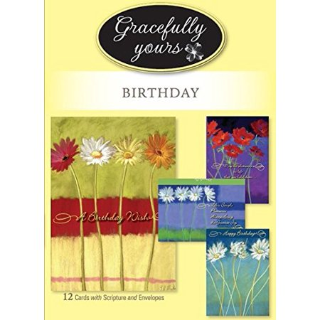 Gracefully Yours Blooming Wishes Birthday Greeting Cards featuring Nel Whatmore, 4 designs/3 each with Scripture Message