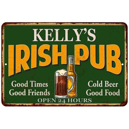 KELLY'S Irish Pub Chic Sign Vintage Wall Décor 8x12 Metal Sign G8120013251