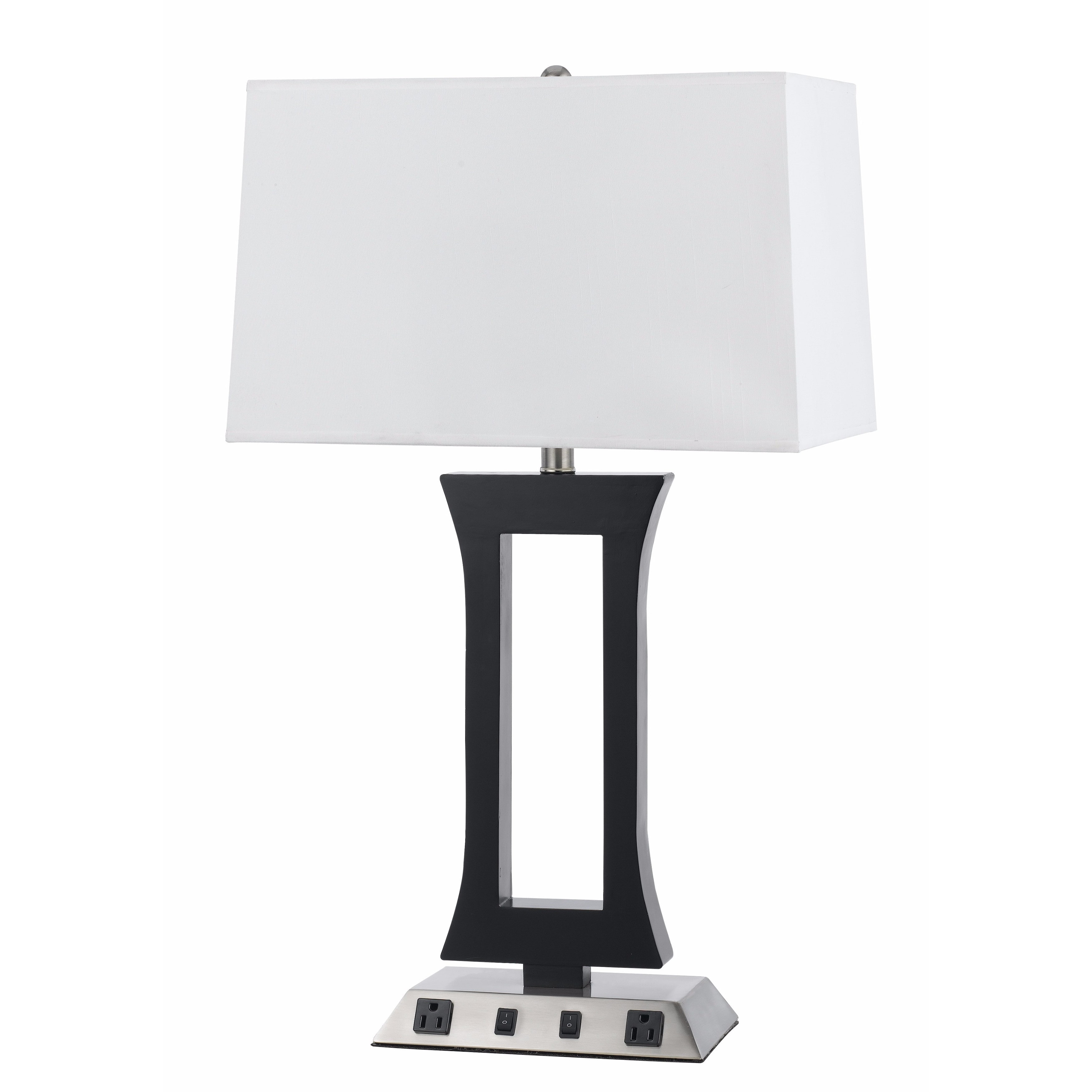 Cal Lighting Black and Silvertone Metal 60-watt Lamp with White Shade and Two Outlets by Overstock