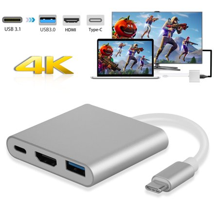 USB-C to HDMI Adapter,TSV USB 3.1 Type C to HDMI 4K Multiport Converter Fit with USB 3.0 Port and USB C Charging Port compatible MacBook/Chromebook Pixel/Dell XPS13/Samsung Galaxy s8/s8 Plus