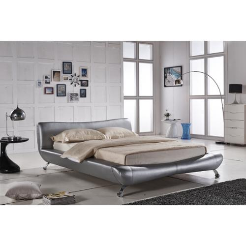 Joyce Sliver Synthetic Leather Contemporary Platform Bed Silver Color King Bed