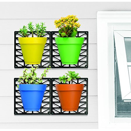 Easy Install Colorful Room Decor Wall Mount Planter Set, Set Of 4. Hang Individually or Puzzle (Freda Wall Mount Planter)