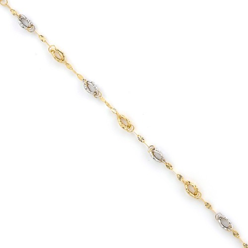14k Yellow Gold & Rhodium Facny Textured Link Bracelet