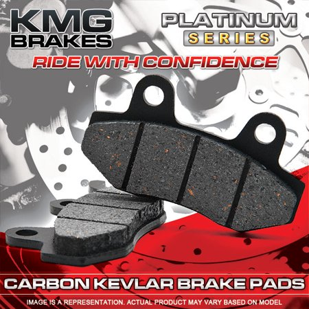 KMG Front + Rear Brake Pads for 2007-2008 Yamaha XVS 1100 V-Star Custom Midnight - Non-Metallic Organic NAO Brake Pads Set - image 2 de 4