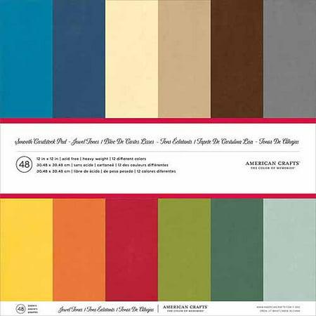 "American Crafts Smooth Cardstock Pack 12""X12"" 48/Pkg-Jewel Tones"