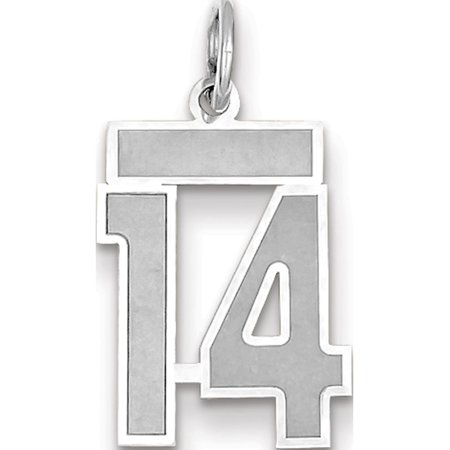 14k White Gold WG Small Satin Number 14 Pendant / Charm - image 1 of 1