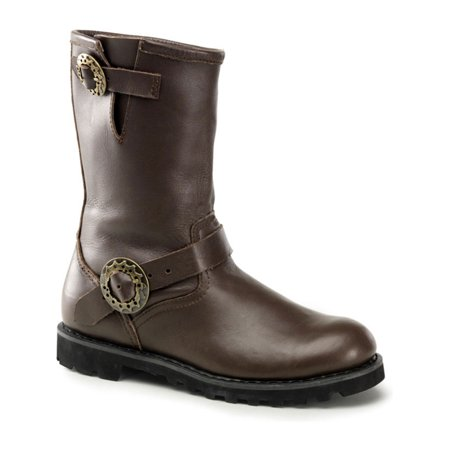 Steampunk Boots Men (Brown Leather MENS BOOTS Motorcycle Boots Steampunk)