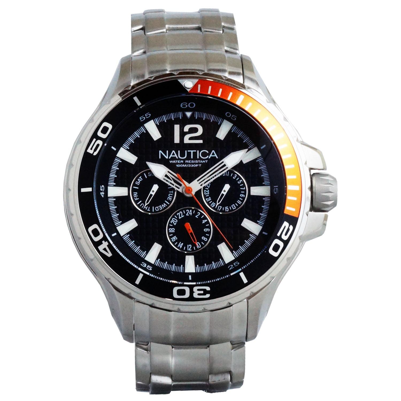 Nautica Classic Stainless Steel Analog Watch w  Enamel Bezel Blue N22616G by Nautica