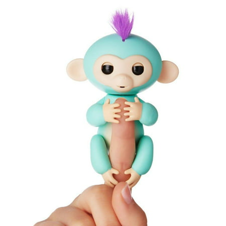 Fingerlings   Interactive Baby Monkey   Zoe  Turquoise With Purple Hair  By Wowwee