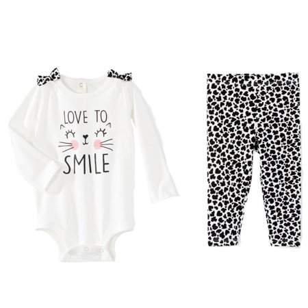 Infant Girls Leopard Print Love To Smile Baby Outfit Cat Bodysuit & Leggings Set - Cats Outfit