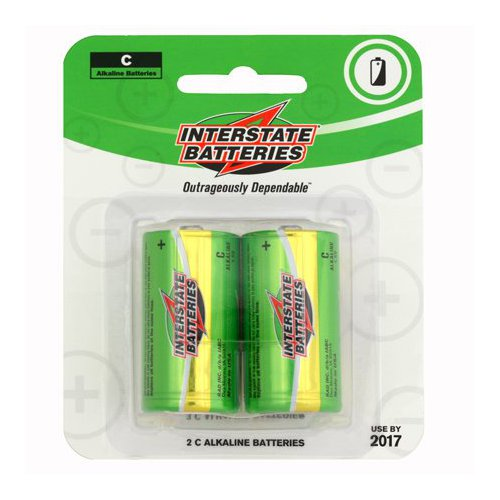 C Alkaline Batteries (2) Multi-Colored