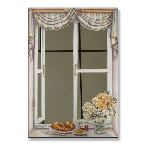 Stupell Industries Croissant and Roses Faux Window Mirror Scene