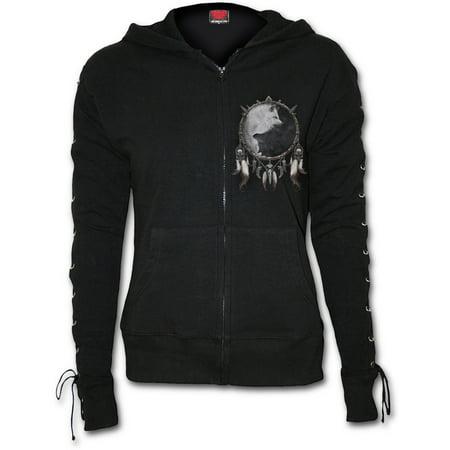 Direct WOLF CHI Fleece Laceup Full Zip Glitter Hoody BlackWolf
