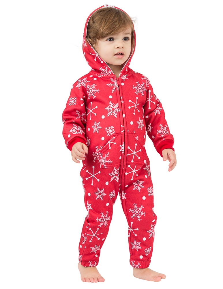 Footed Pajamas - Red Snowflake Infant Footless Hoodie One Piece ...