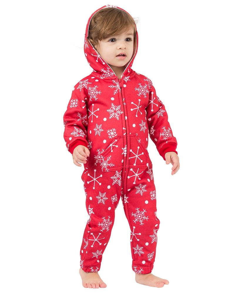 Footed Pajamas - Red Snowflake Infant Footless Hoodie One Piece ...