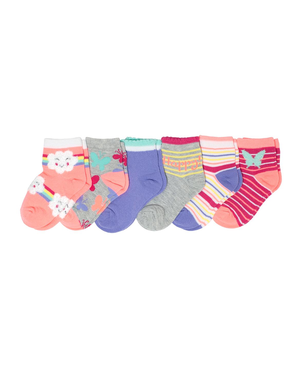 Garanimals Girls Butterfly Chenille Ankle Sock, 6 Pack