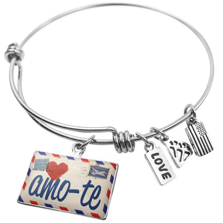 Expandable Wire Bangle Bracelet I Love You Portuguese Love Letter from Portugal - NEONBLOND (Silver Portuguese Jewelry)