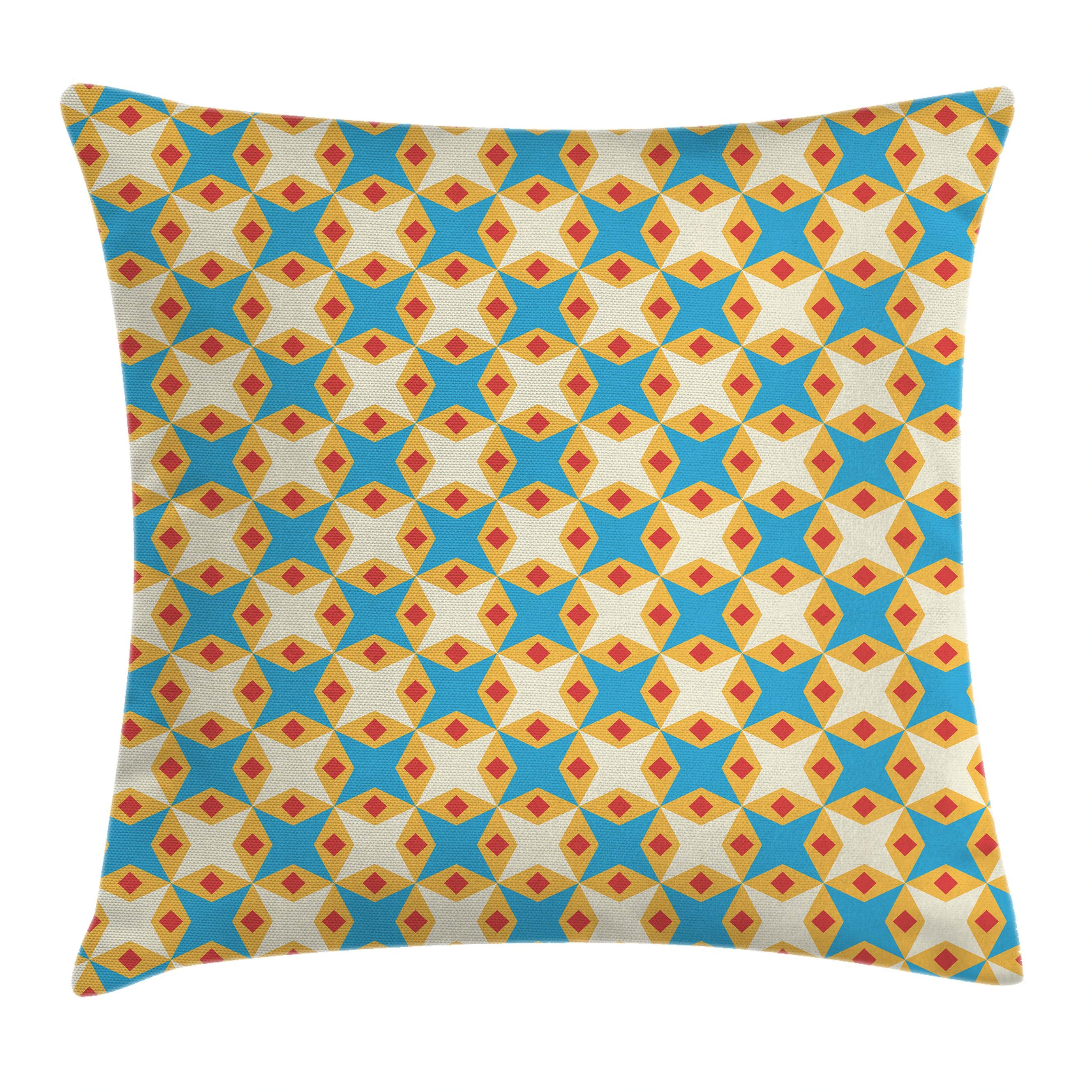 Kids Throw Pillow Cushion Cover, Flower Motifs in Shabby Colors Vintage Ornamental Pattern Geometrical, Decorative Square Accent Pillow Case, 16 X 16 Inches, Sky Blue Marigold Cream, by Ambesonne
