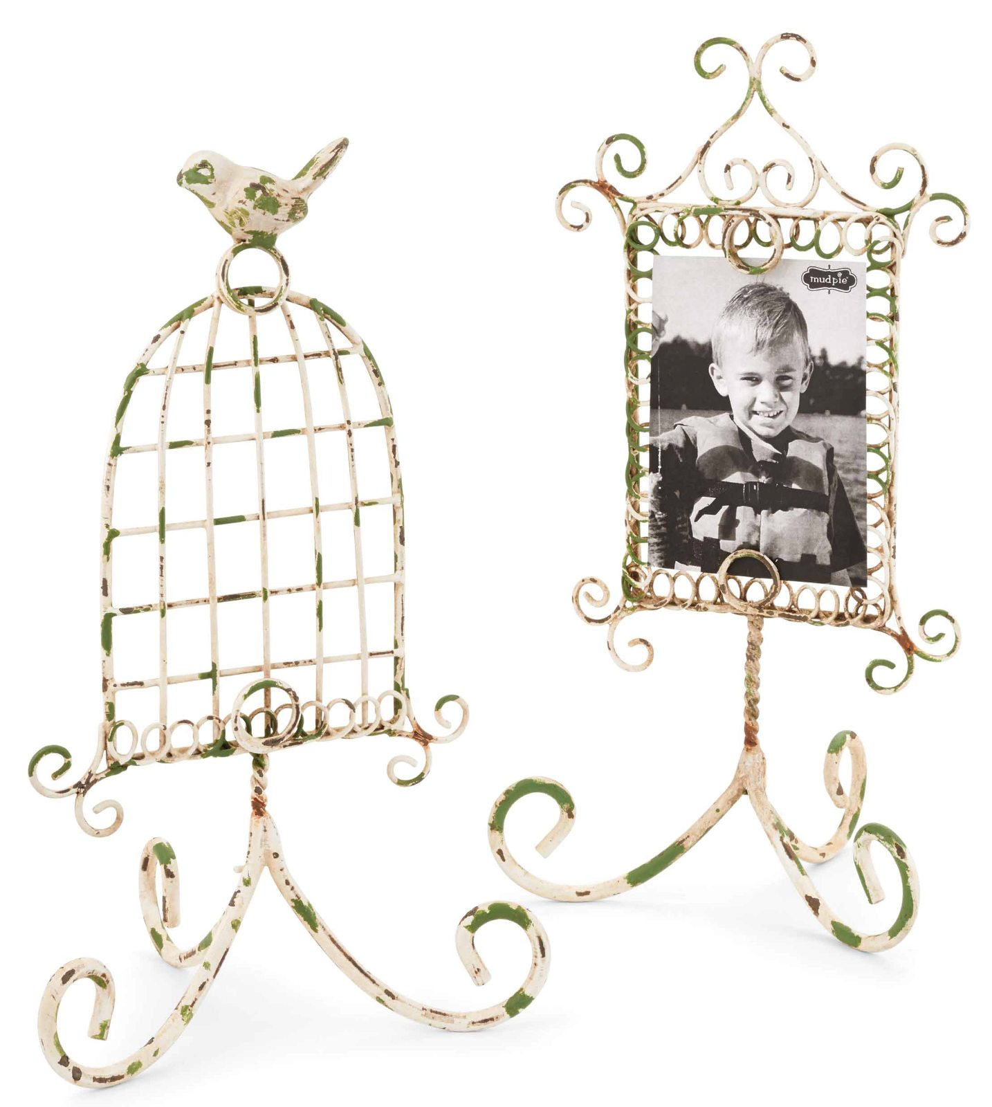 Distressed Wire 4X6 Picture Photo Frames Set of 2 Tabletop Desktop Mud Pie