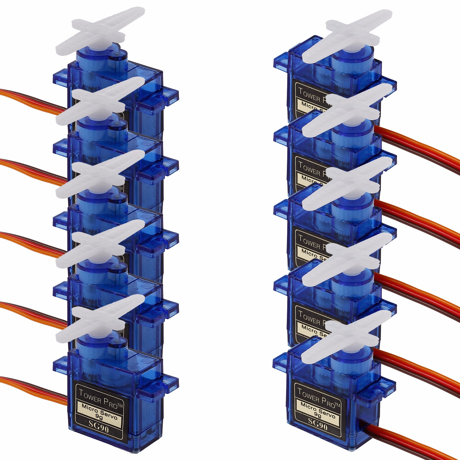 ESYNIC 10pcs SG90 9G Micro Servo Motor RC Robot Helicopter Airplane Control