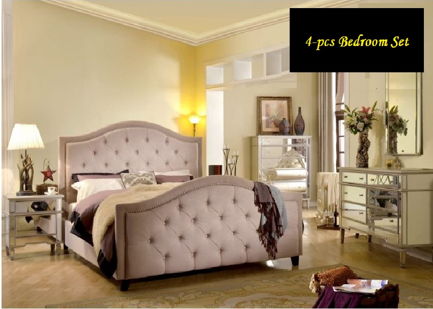 Lovely Classic Beautiful Bedroom Eastern King Size Bed Dresser Mirror  Nightstand Formal Beige Pearl Color Nailhead