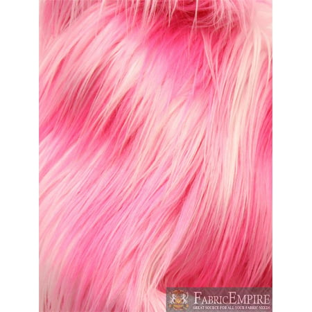 Faux Fur Fabric Long Pile 3 TONE RAINBOW HOT PINK WHITE PINK/ 60