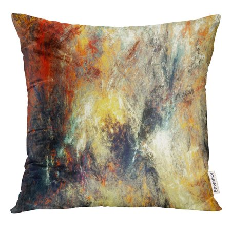 EREHome Bright Artistic Splashes Abstract Painting Color Modern Futuristic Multicolor Dynamic Fractal Pillow Case 16x16 Inches Pillowcase - image 1 de 1