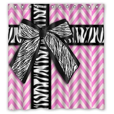 Chevron Zebra - GreenDecor Girly Pink And White Chevron With Zebra Print Ribbon Bow Waterproof Shower Curtain Set with Hooks Bathroom Accessories Size 66x72 inches