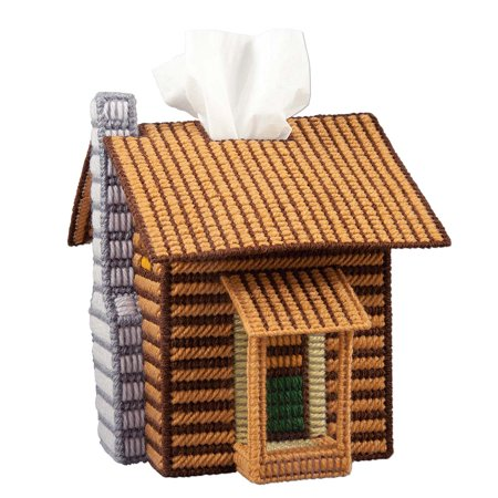 Herrschners® Log Cabin Tissue Box Cover Plastic Canvas Kit
