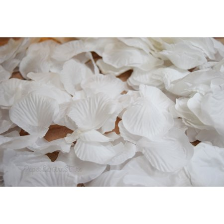 Quasimoon White Silk Rose Petals Confetti for Weddings in Bulk by PaperLanternStore