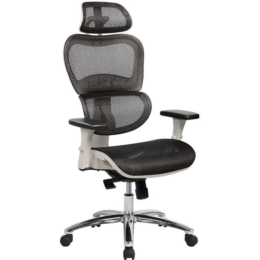 Techni Mobili Deluxe High Back Mesh Executive Office Chair with Neck Support. Color: Black