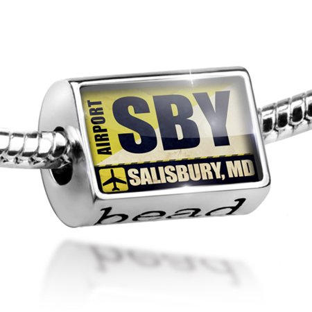 Bead Airportcode SBY Salisbury, MD Charm Fits All European Bracelets - City Of Salisbury Md