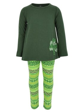 Girls Lucky Clover Embroidery 2 Piece St Patricks Day Outfit (2t)