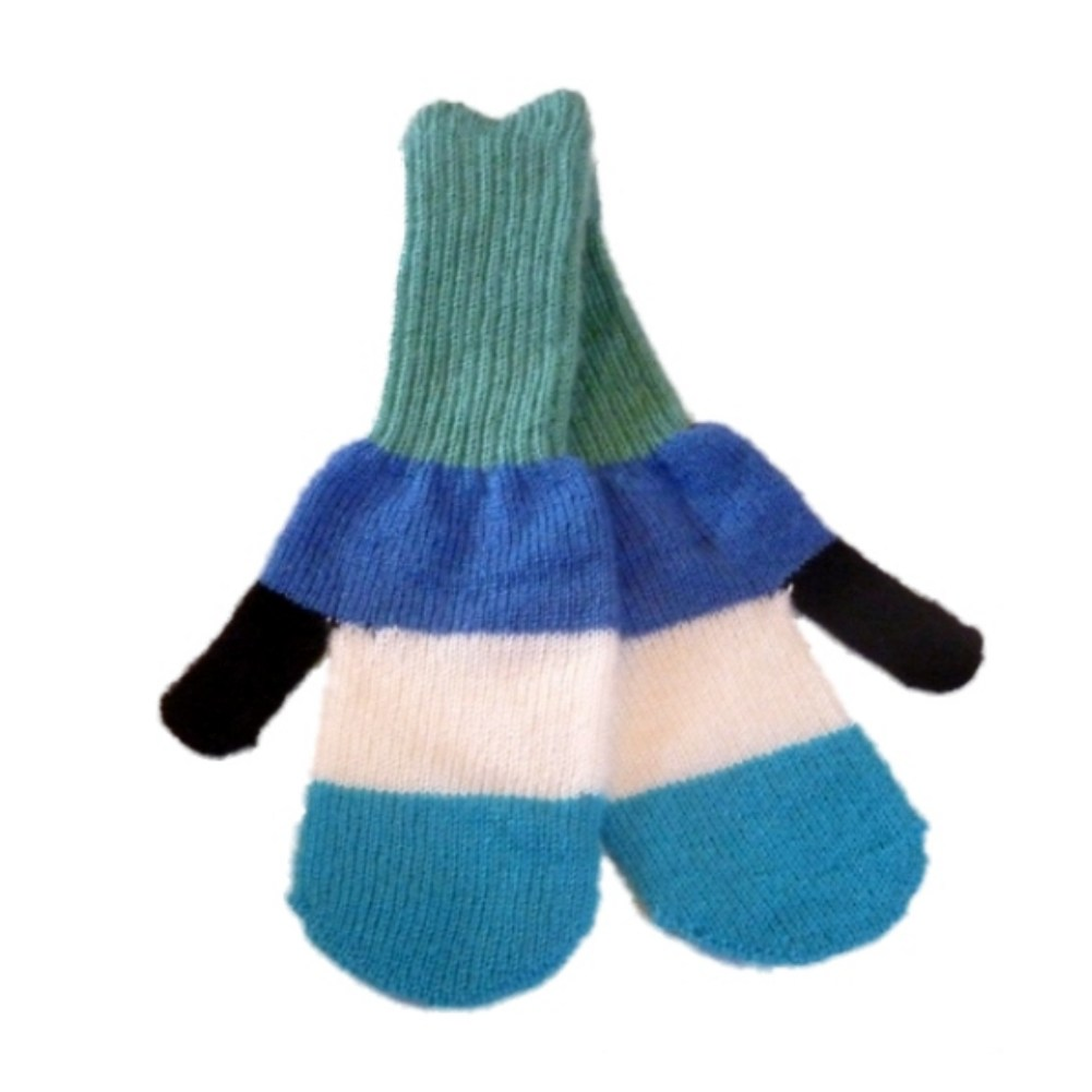 JCP Womens Green & Blue Stripe Soft Knit Mittens