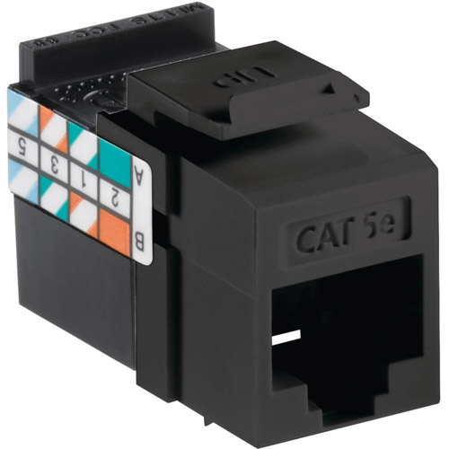 Leviton 5G108-RE5 Quickport CAT-5E Jack, Black