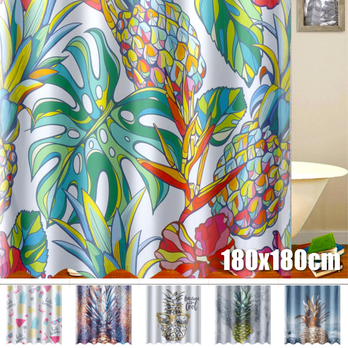 Asewon 71x71'' Pineapple Polyester Shower Curtain